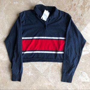 NWT Navy Johnny Long Sleeve Collared Top